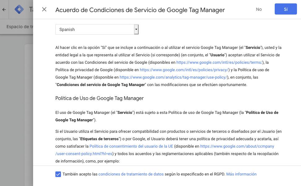 Aceptar los términos de servicio de Google Tag Manager y de GDPR