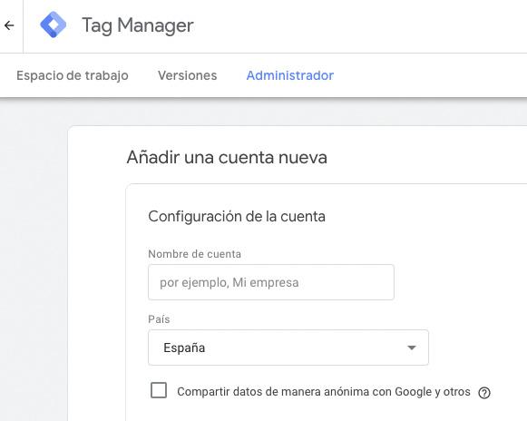 Añadir una nueva cuenta de Google Tag Manager: configuración de la cuenta