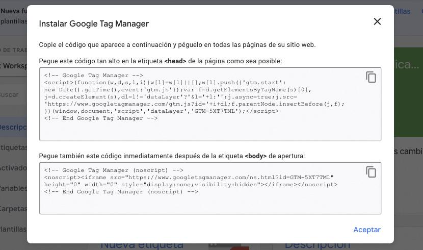 Códigos de instalación del Administrador de etiquetas de Google