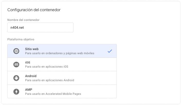 Configuración del contenedor del Google Tag Manager