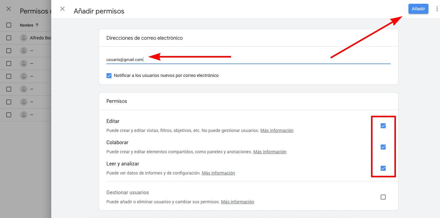 Configuración permisos Google Anaytics