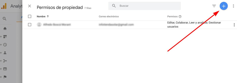 Google Analytics Permisos de propiedad